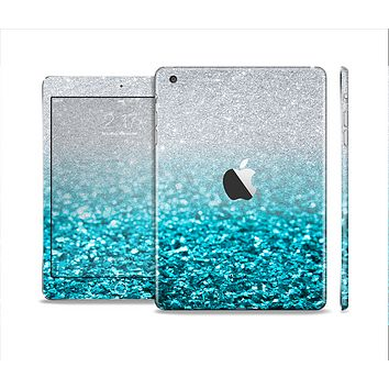 The Turquoise & Silver Glimmer Fade Full Body Skin Set for the Apple iPad Mini 2
