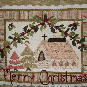Christmas Chapel Quilted Wallhanging