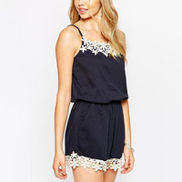Navy Strappy Lace Romper