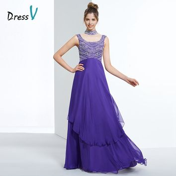 Dressv indigo a line chiffon long prom dress high neck beading cap sleeves zipper up formal dress women evening party prom dress
