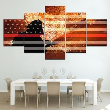 Firefighter Fighting Flames Red Line Flag Five Piece Canvas Wall Art Home Decor