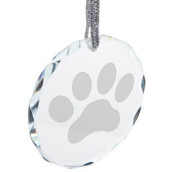 Dog Paw Round Crystal Ornament