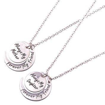 Always My Mother Daughter Sister Forever My Friends Moon Pendant Necklace Mom Women Family Love Birthday Charm Jewelry Collar