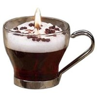DecoGlow Glass Coffee Shop Collection 2.5-Inch Glass Coffee Mug Filled With Irish Cream Scented Gel Candle in Gift Box