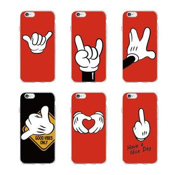 OLOEY Mickey Mouse Hand Gesture Pattern Soft Clear Phone Case  Coque Fundas For iPhone5 6 7 7Plus 8 8Plus X XS Max  SAMSUNG