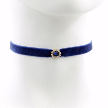Navy Velvet Choker with Gold Accents