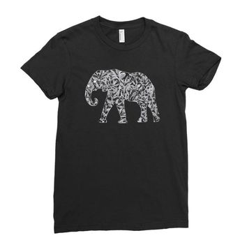elephant filled pattern cool Ladies Fitted T-Shirt