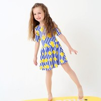 Kids One Piece Swimsuit Blue Stripes Lemon Pattern Skirt Swimwear Cute Girl Bathing Suits