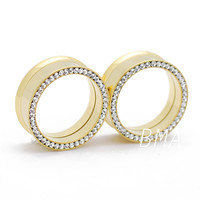 Gold Orbital CZ Tunnels Plugs (4mm-25mm)