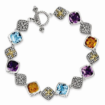 Sterling Silver with 14K Yellow Gold Multi Gemstone Bracelet