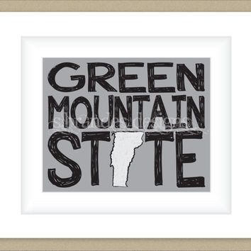 8x10 Vermont Print, Green Mountain State Map Art Custom Colors