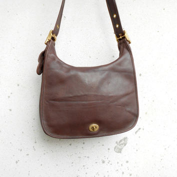 Vintage Leathe Bag COACH No.G1D - 9718 Brown Leather Shoulder or Crossbody Bag / Medium / Gift for Her