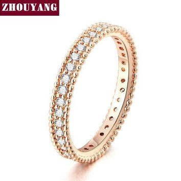 VONG2W Rose Gold Color Simple Classic Wedding & Engagement Ring Jewelry Made With Cubic Zirconia For Women ZYR490