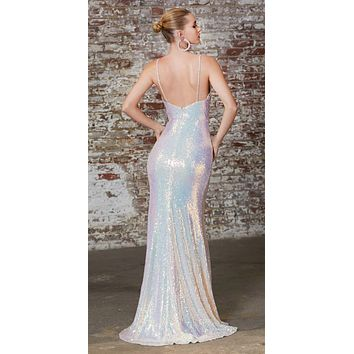 Fitted Sequin Gown Opal Blush Gathered Waistline Embellished Spaghetti Straps