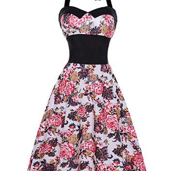 Casual Retro Halter Elastic Waist Floral Printed Skater Dress