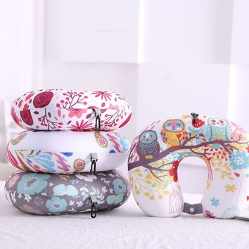U-Shape Pillow With Button Floral Flamingos Printed Nano Beads/Soft Polyester Neck Pillow Protect Headrest Travel Soft Cushion