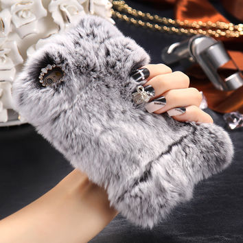 Fashion Rabbit Hair Case Case For iPhone 6 4.7inch/ 6S Cover Bling Diamond Plush Furry Winter Protective Cover For iPhone 6 Plus