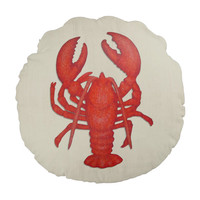 Round Nautical Pillow with coral Lobster on tan background 16 inch pillow with insert, throw pillow, beach decor