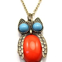 Lovely Colorful Rhinestone Owl Chain Necklace