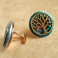 Cufflinks: Tree of Life - Blue and Bronze - Mens Gift - Boyfriend Gift - Anniversary Gift - Celtic Cufflink - Best Man Gift - Mens Jewelry