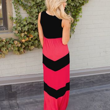 Color Block Black And Red Wave Print Maxi Dress 10965