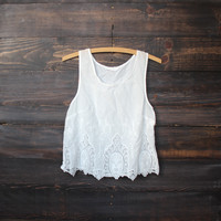 romantic embroidered gauze tank