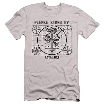 Gremlins 2 Slim Fit T-Shirt Please Stand By Silver Tee