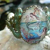 mermaid bracelet cuff mermaid jewelry verdigris mermaid seahorse trio