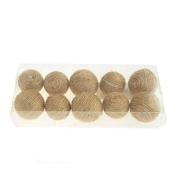 Jute Round Bowl Fillers Holiday Decor, Natural, 1-1/2-Inch, 10-Piece
