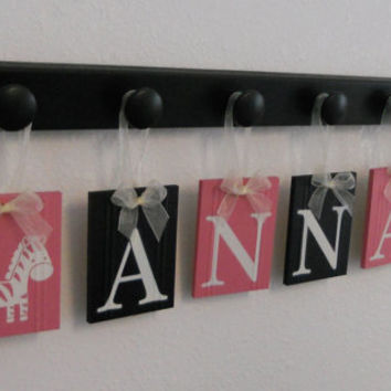 Zebra Decor, Zebra Nursery Set Includes 6 Wood Hangers and Babies Name ANNA with Zebras Pink / Black, Zebra Baby Girls Room, Zebra Wall Sign