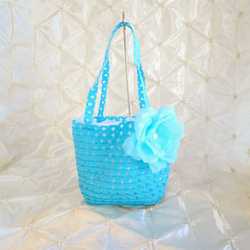 Flower Girl Tote Basket Blue With A Blue Silk Rose Pearl Center Beach Rustic, Barn, Country, Wedding With White Silk Rose Petals