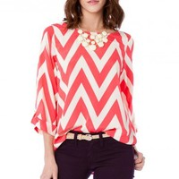 Forever Zig Zag Blouse in Wild Pink - ShopSosie.com