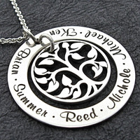 Family Eternity Collection - BRISA personalized necklace with tree of life charm - Engraved Necklace - Mother Necklace - Mom Jewelry
