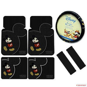Licensed Official 7pcs Disney Mickey Mouse Car Truck Front Rear Floor Mats Steering Wheel Cover