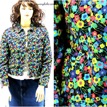 Retro corduroy jacket size M / L floral hippie cord jacket 90s does 70s bright flower jacket SunnyBohoVintage
