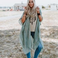 Sunny Afternoon Duster Kimono - Sage