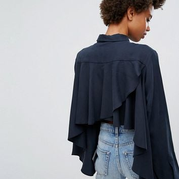 Weekday Cupro Peachy Feel Frill Back Shirt at asos.com