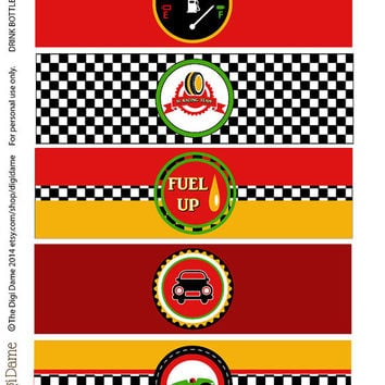 Party Printables: Car Racing Speedway Drink Bottle Labels in Red, Yellow & Green