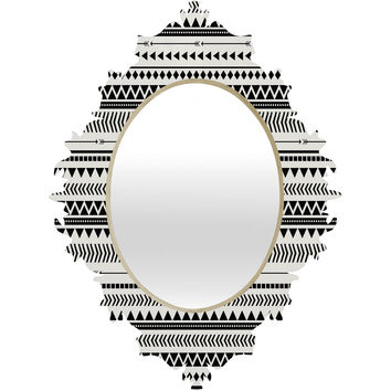 Allyson Johnson Black And White Aztec Pattern Baroque Mirror