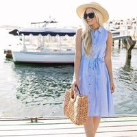 Darlene Blue Stripe Collar Midi Dress