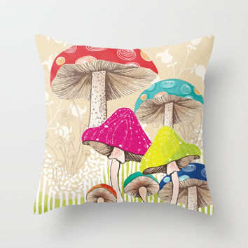 Magical Mushrooms Throw Pillow by Amanda Dilworth