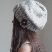 Knit slouchy hat - LINEN (more colors available - made to order)