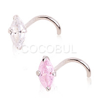 Sterling Silver Nose Screw with Marquise Cut Crystal