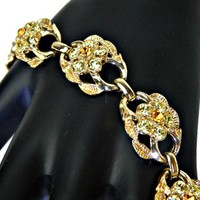 Jonquil Yellow and Amber Rhinestone Bracelet Dome Links Signed Coro w Safety Chain