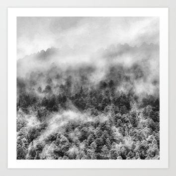 """Mountain light III BW"". Foggy forest. Art Print by Guido Montañés"