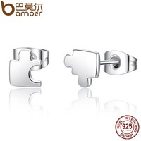 Genuine 925 Sterling Silver Game Puzzle Stud Earrings, Clear CZ Sterling Silver Jewelry Brincos SCE045