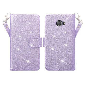 Jitterbug Smart 2 Case, Magnetic Flip Fold Kickstand Glitter Bling Leather Wallet Cover with ID & Credit Card Slots - Purple