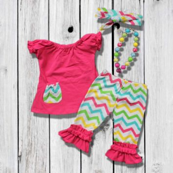 The Multicolor Chevron Capri Set