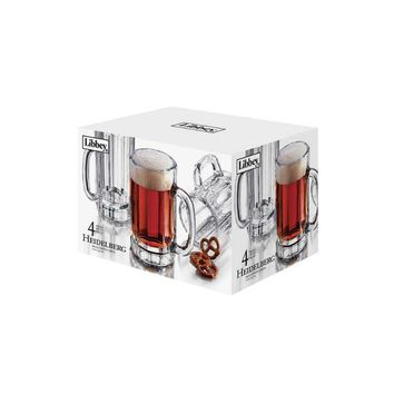 Libbey® Glass 89587 Heidelberg Beer Mug Set, 16 Oz, 4-Piece
