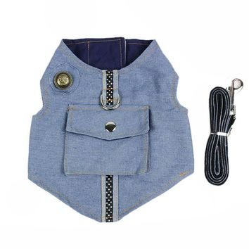 Trendy Dog Harness Jean Jacket with D Ring Denim Puppy Vest Harness and Leash Set Fashion Big Pocket Pet Vest for Small Dogs Cats S M L AT_94_13
